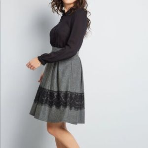 ModCloth Whirl Record Gray Lace Skirt